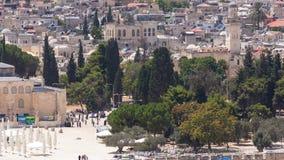 Mening van de oude moskee van stadsandal-aqsa timelapse van het Onderstel van Olijven , Jeruzalem, Heilig Land stock videobeelden