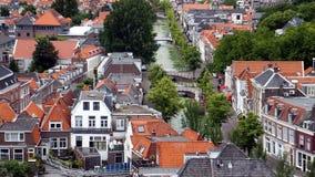 Mening van de oude stad, Delft, Holland stock foto's