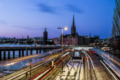 Mening van de oude stad Gamla Stan in Stockholm zweden Stock Afbeeldingen