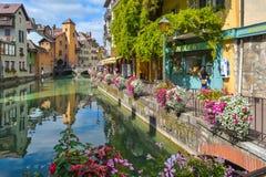 Mening van de oude stad van Annecy frankrijk Royalty-vrije Stock Fotografie