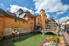 Mening van de oude stad van Annecy frankrijk Stock Foto