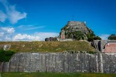 Mening van de oude vesting, het eiland van Korfu, Griekenland Stock Fotografie