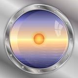 Mening van de patrijspoort: hemel, oceaan en zonsondergang Stock Fotografie
