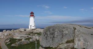Mening van de Peggys-Inhamvuurtoren, Nova Scotia 4K stock videobeelden