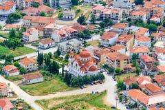 Mening van de Pindos-Bergen aan het land stock foto's