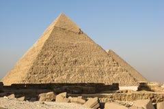 Mening van de Piramides van Khafre en Khufu in Giza Royalty-vrije Stock Foto