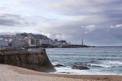 Mening van de promenade van La Coruna Royalty-vrije Stock Fotografie