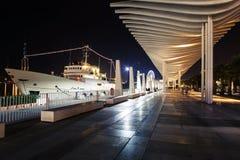 Mening van de promenade van Muelleuno, in de stad van Malaga tijdens de nacht Stock Foto's