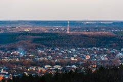 Mening van de Pyatigorsk-stad van de heuveltop stock fotografie