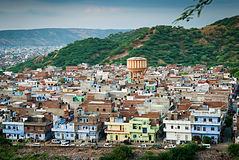 Mening van de rand van de stad, Jaipur. Royalty-vrije Stock Foto's