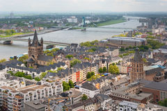 Mening van de Rijn en Keulen stock afbeeldingen