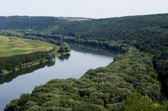 Mening van de rivier van Dniester van hierboven, het thema van mooi Na stock fotografie