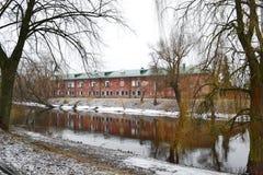 Mening van de rivier Mukhavets in de Vesting van Brest Royalty-vrije Stock Fotografie