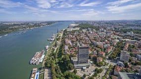 Mening van de Rivier van Donau van hierboven Stock Foto