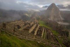Mening van de ruïnes van Machu Picchu Inca in Peru Stock Foto