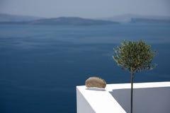 Mening van de Santorini-villa, Santorini, Griekenland Stock Fotografie