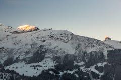 Mening van de skitoevlucht Jungfrau Wengen in Zwitserland Stock Fotografie