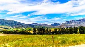 Mening van de Slanghoekberge-Bergketen waarlangs de Bainskloof-Paslooppas tussen de steden Ceres en Wellington royalty-vrije stock afbeelding