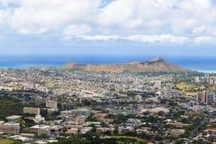 Mening van de stad van Honolulu en Diamond Head van Tantalus-vooruitzicht, Oahu royalty-vrije stock fotografie