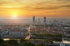 Mening van de stad van Lyon van Fourviere, Frankrijk Royalty-vrije Stock Foto's