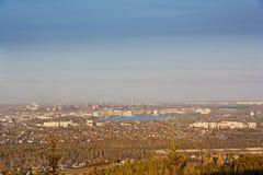 Mening van de stad van Nizhny Tagil vanaf de bovenkant van de berg Stock Fotografie