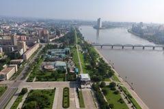 Mening van de stad Pyongyang Royalty-vrije Stock Foto