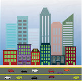 Mening van de stad in stijl vlakke, vectorillustratie Stock Fotografie