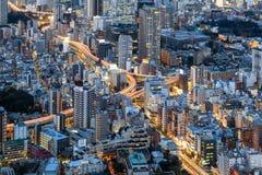 Mening van de stad van Tokyo van Mori Tower, Roppongi-Heuvels, Tokyo, Japan stock foto's
