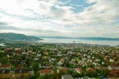 Mening van de stad Trondheim Stock Afbeeldingen