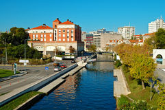 Mening van de stad van Aveiro royalty-vrije stock afbeelding