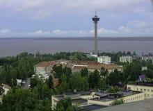 Mening van de stad van een hoogte Tampere, Finland royalty-vrije stock foto