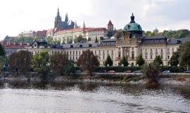 Mening van de stad van het Kasteel van Praag, Tsjechische Republiek, Europa Stock Foto