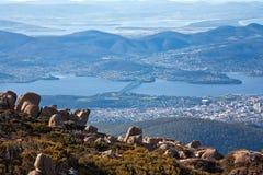 Mening van de stad van Hobart Stock Foto's