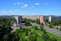 Mening van de stad van komsomolsk-op-Amur, Rusland Stock Afbeelding