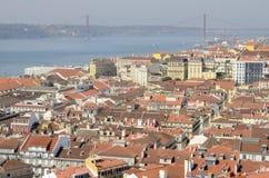 Mening van de stad van Lissabon Stock Foto