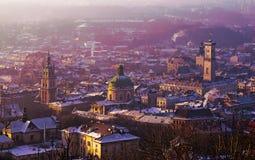 Mening van de stad van Lviv Stock Afbeelding