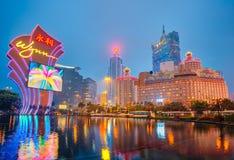 Mening van de stad van Macao bij nacht in Macao, China Royalty-vrije Stock Foto's