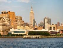 Mening van de Stad van New York van de Hudson-rivier Stock Fotografie