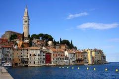 Mening van de stad van Rovinj in Istria Stock Foto