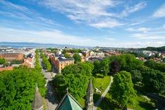 Mening van de stad van Trondheim Royalty-vrije Stock Foto's