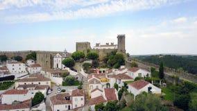 Mening van de Stadsmuur van het Obidos-kasteel, Portugal Stock Afbeelding