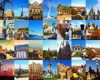 Mening van de de stadsprentbriefkaar van Barcelona de mooie Stock Afbeelding