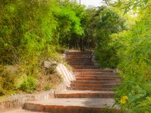 Mening van de 1001 stappen van de Chamundi-Heuvels, Mysore, Karnataka, India Stock Foto