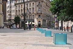Mening van de straat in centrum van Boedapest Stock Afbeeldingen