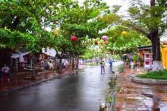 Mening van de straat in de oude stad van Hoi An, Vietnam Stock Fotografie
