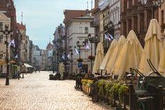 Mening van de straat oude Poolse stad van Torun Royalty-vrije Stock Foto's