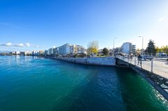 Mening van de strandboulevard van Chalcis `, Griekenland Stock Afbeelding