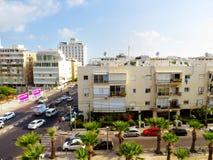 Mening van de straten van Tel Aviv Toeristische attractie van de stad De zomer van 2018 stock foto's