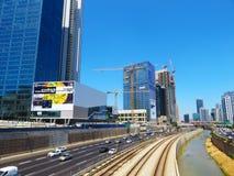 Mening van de straten van Tel Aviv Toeristische attractie van de stad De zomer van 2018 stock afbeelding
