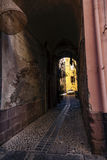 Mening van de straten van het schilderachtige dorp van Bosa Stock Afbeelding